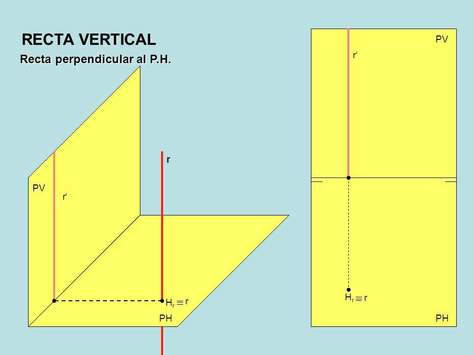 Recta perpendicular al P.H. PV PH PV HrHr r r r r r HrHr RECTA VERTICAL