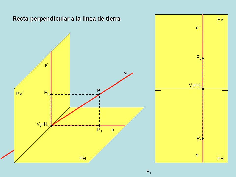 P1P1 Recta perpendicular a la línea de tierra PV PH PV HsHs s VsVs s s s s VsVs HsHs P2P2 P2P2 P1P1 P P1P1