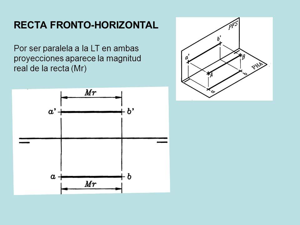 Por ser paralela a la LT en ambas proyecciones aparece la magnitud real de la recta (Mr)
