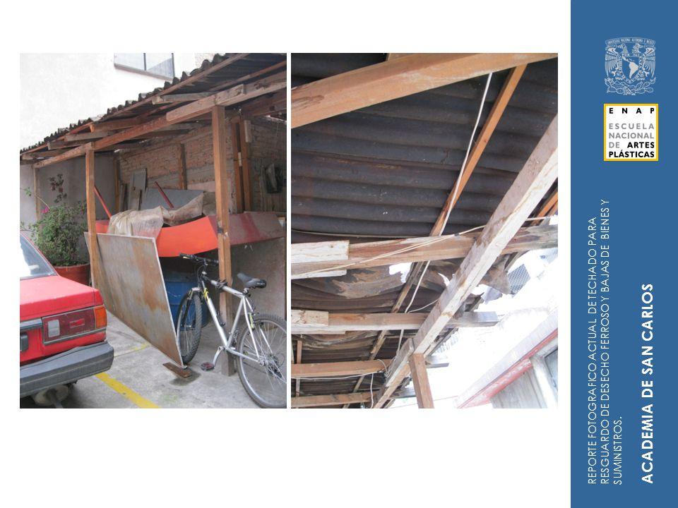 INSPECCION POR PERSONAL DE LA DGOC Y PATRIMONIO UNIVERSITARIO ACUEDUCTO PLANTEL TAXCO (20/01/12) REPORTE FOTOGRAFICO ACTUAL DE TECHADO PARA RESGUARDO DE DESECHO FERROSO Y BAJAS DE BIENES Y SUMINISTROS.