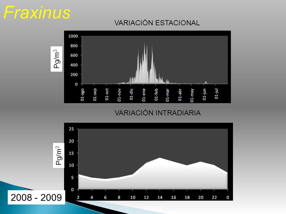 VARIACIÓN ESTACIONAL VARIACIÓN INTRADIARIA Fraxinus Hours Pg/m 3 2008 - 2009 Pg/m 3