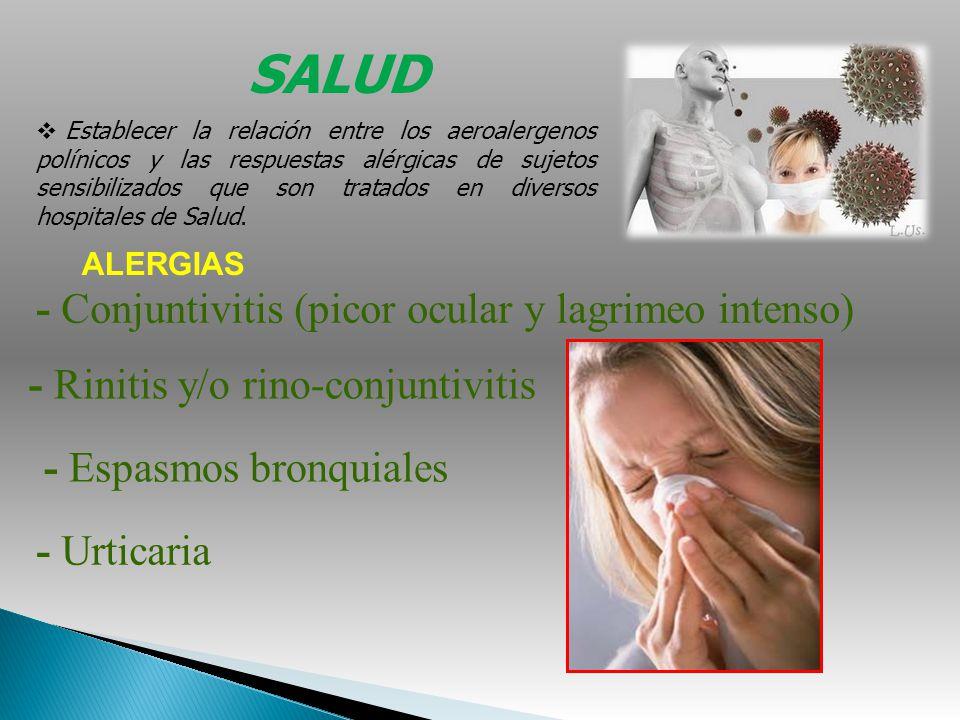 SALUD Establecer la relación entre los aeroalergenos polínicos y las respuestas alérgicas de sujetos sensibilizados que son tratados en diversos hospi