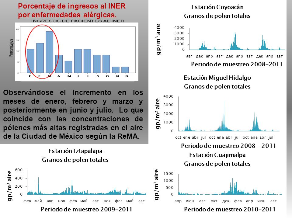 Porcentaje de ingresos al INER por enfermedades alérgicas. Observándose el incremento en los meses de enero, febrero y marzo y posteriormente en junio
