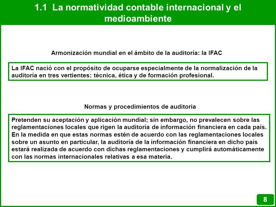 1.1 La normatividad contable internacional y el medioambiente 8 Armonización mundial en el ámbito de la auditoría: la IFAC La IFAC nació con el propós