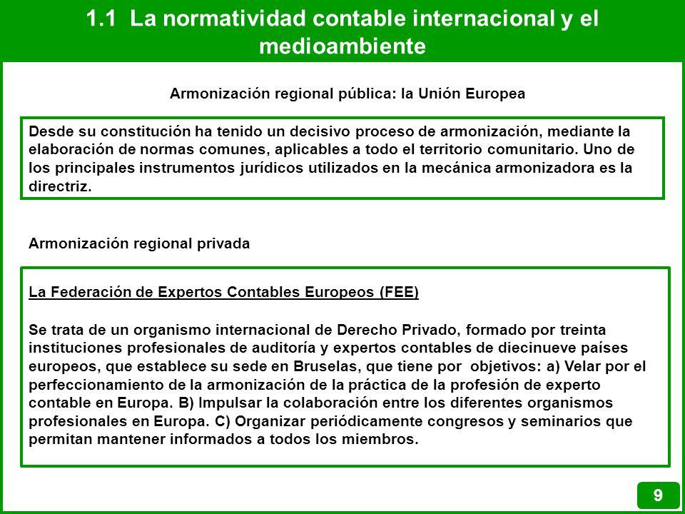 1.1 La normatividad contable internacional y el medioambiente 9 Armonización regional pública: la Unión Europea Desde su constitución ha tenido un dec