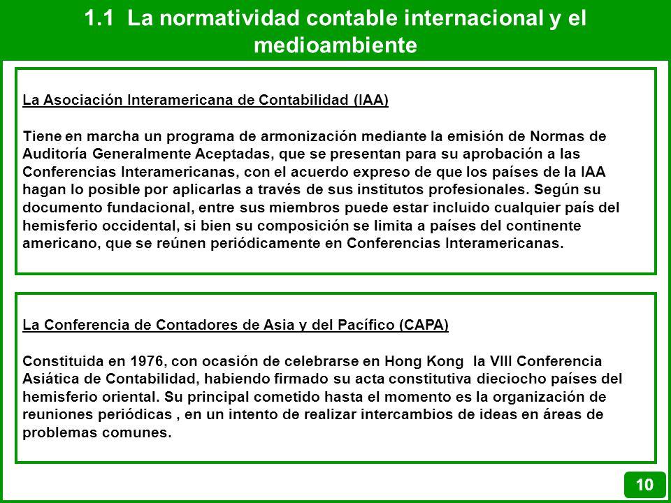 1.1 La normatividad contable internacional y el medioambiente 10 La Asociación Interamericana de Contabilidad (IAA) Tiene en marcha un programa de arm