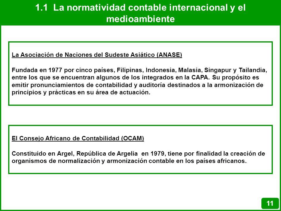 1.1 La normatividad contable internacional y el medioambiente 11 La Asociación de Naciones del Sudeste Asiático (ANASE) Fundada en 1977 por cinco país
