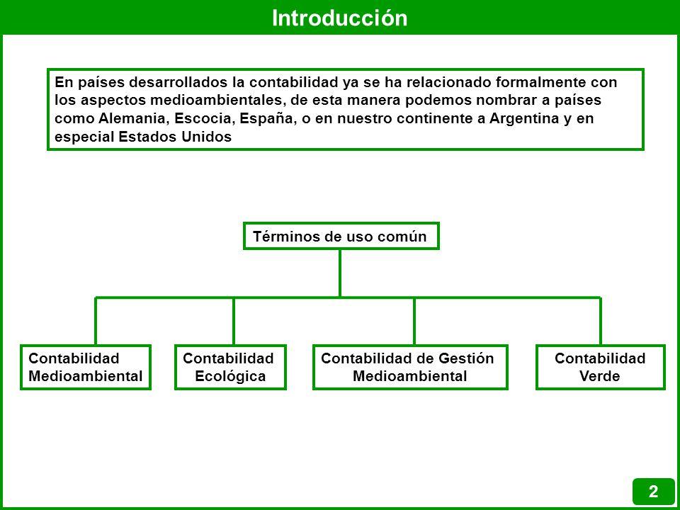 Introducción 2 En países desarrollados la contabilidad ya se ha relacionado formalmente con los aspectos medioambientales, de esta manera podemos nomb