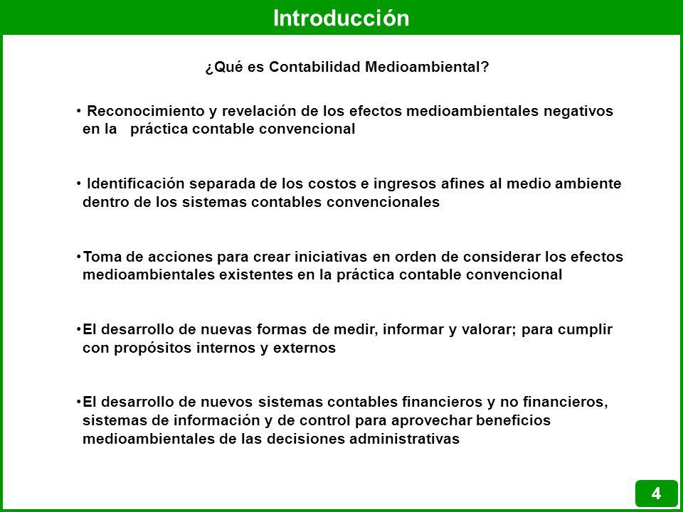 Introducción 4 Reconocimiento y revelación de los efectos medioambientales negativos en la práctica contable convencional Identificación separada de l