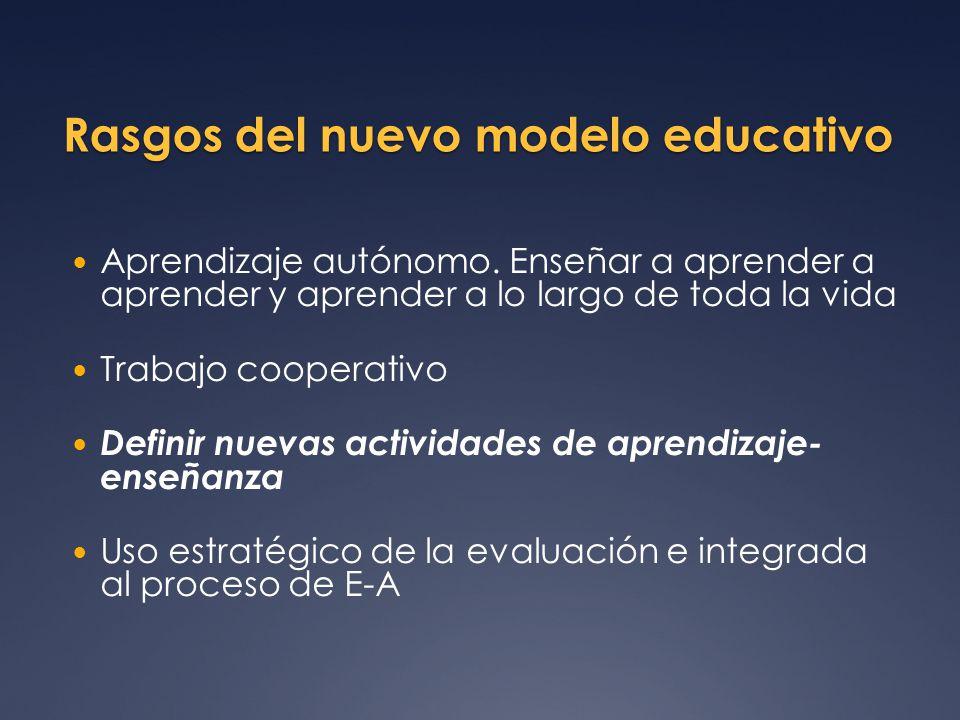 Rasgos del nuevo modelo educativo Aprendizaje autónomo. Enseñar a aprender a aprender y aprender a lo largo de toda la vida Trabajo cooperativo Defini
