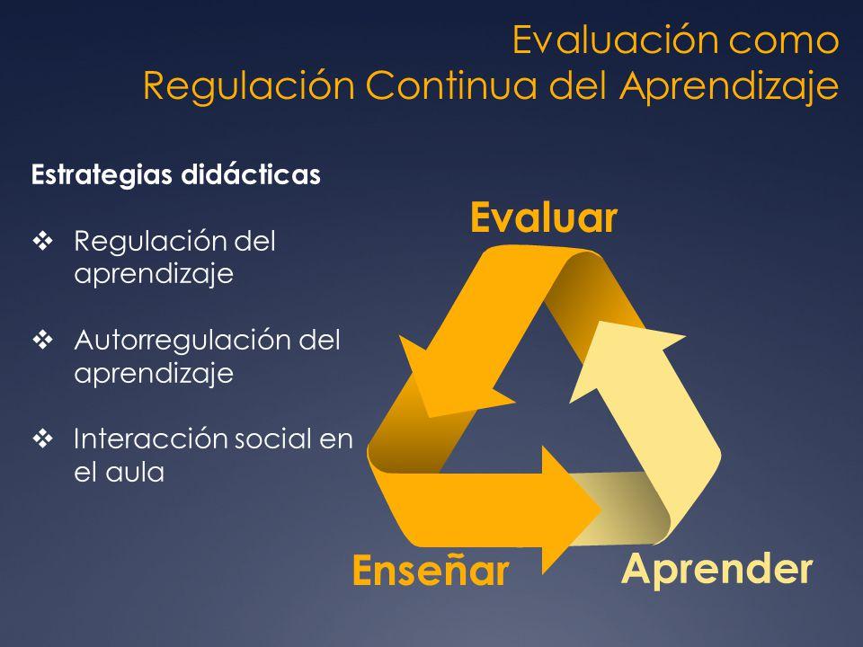 Evaluación como Regulación Continua del Aprendizaje Enseñar Aprender Evaluar Estrategias didácticas Regulación del aprendizaje Autorregulación del apr