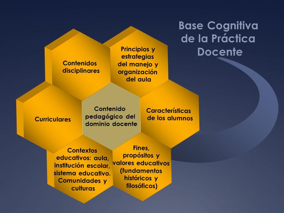 Características de los alumnos Principios y estrategias del manejo y organización del aula Fines, propósitos y valores educativos (fundamentos históri