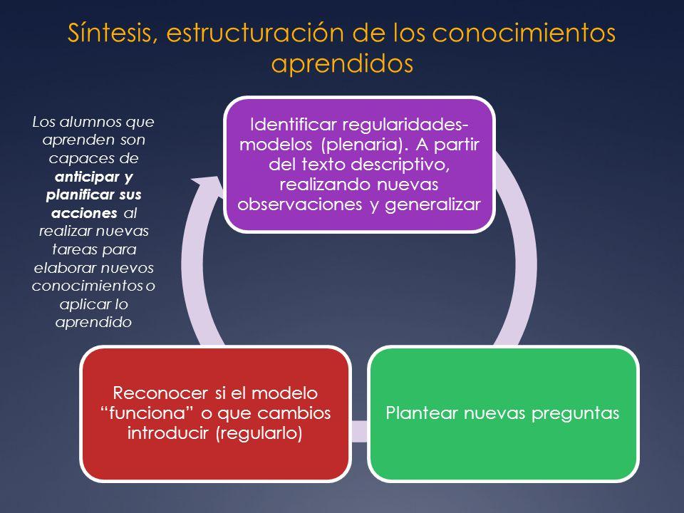 Síntesis, estructuración de los conocimientos aprendidos Identificar regularidades- modelos (plenaria). A partir del texto descriptivo, realizando nue