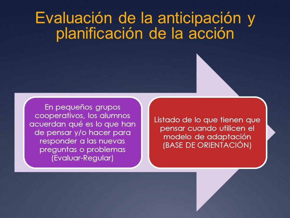 Evaluación de la anticipación y planificación de la acción En pequeños grupos cooperativos, los alumnos acuerdan qué es lo que han de pensar y/o hacer