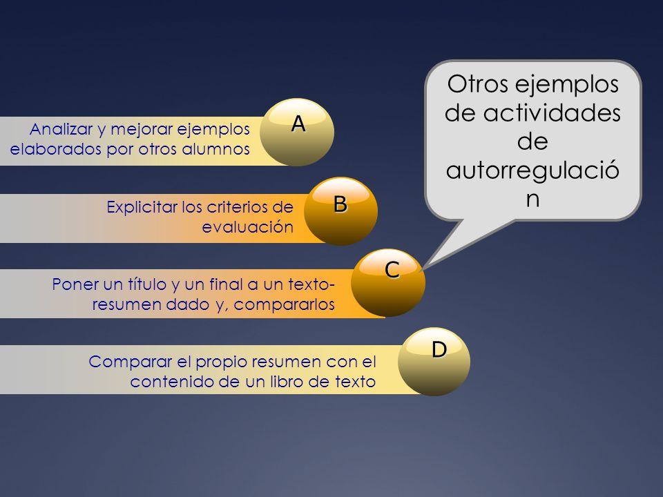 A Analizar y mejorar ejemplos elaborados por otros alumnos B Explicitar los criterios de evaluación C Poner un título y un final a un texto- resumen d