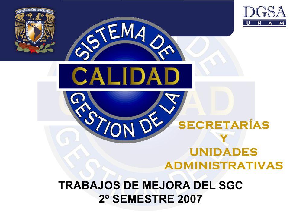 SECRETARÍAS Y UNIDADES ADMINISTRATIVAS TRABAJOS DE MEJORA DEL SGC 2º SEMESTRE 2007