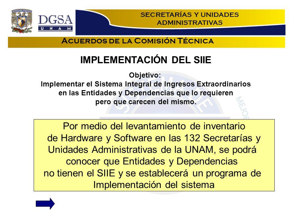 Acuerdos de la Comisión Técnica Objetivo: Implementar el Sistema Integral de Ingresos Extraordinarios en las Entidades y Dependencias que lo requieren pero que carecen del mismo.