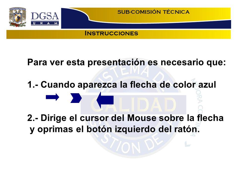 Instrucciones SUB-COMISIÓN TÉCNICA Para ver esta presentación es necesario que: 1.- Cuando aparezca la flecha de color azul 2.- Dirige el cursor del Mouse sobre la flecha y oprimas el botón izquierdo del ratón.