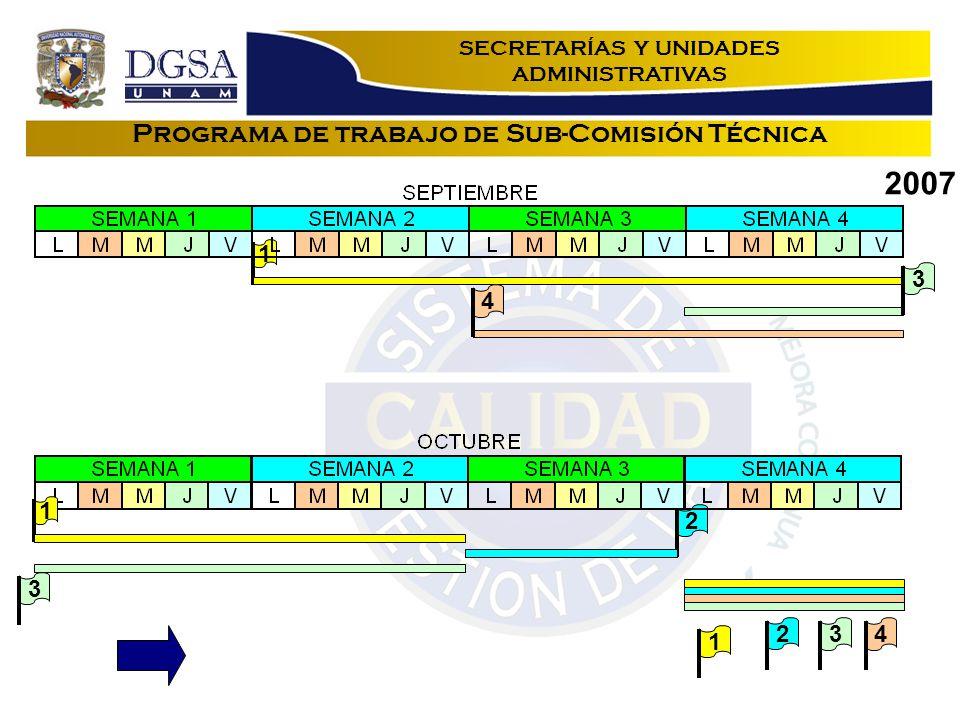 Programa de trabajo de Sub-Comisión Técnica 1 2 3 1 34 2007 12 34 SECRETARÍAS Y UNIDADES ADMINISTRATIVAS