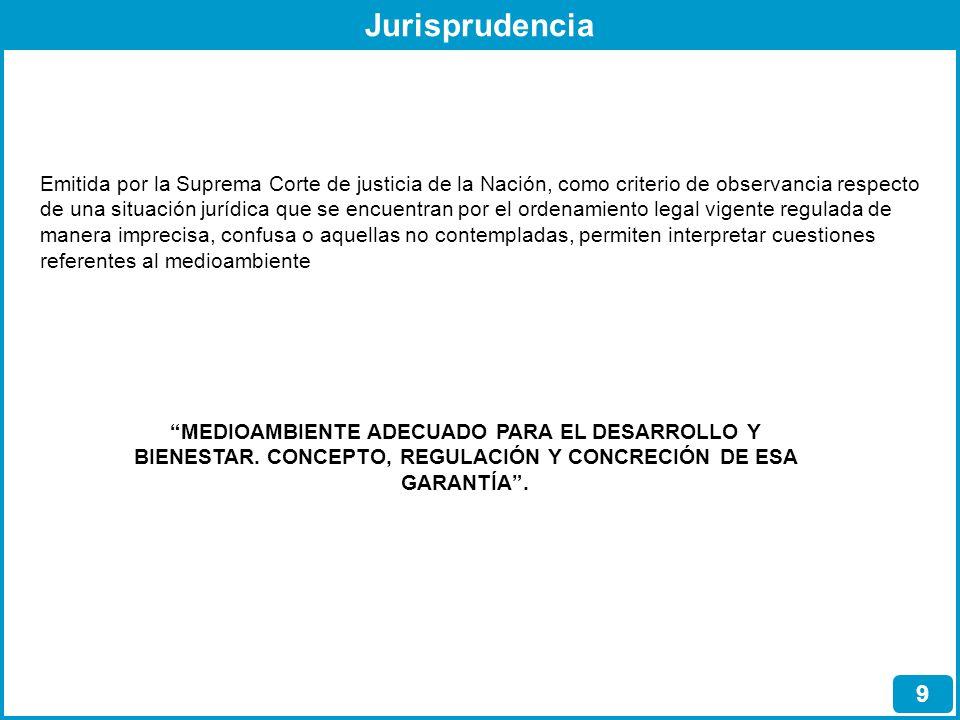 Jurisprudencia 9 Emitida por la Suprema Corte de justicia de la Nación, como criterio de observancia respecto de una situación jurídica que se encuent