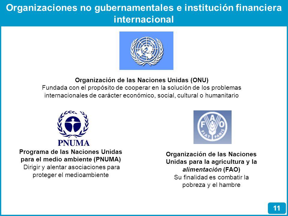 Organizaciones no gubernamentales e institución financiera internacional 11 Organización de las Naciones Unidas (ONU) Fundada con el propósito de coop