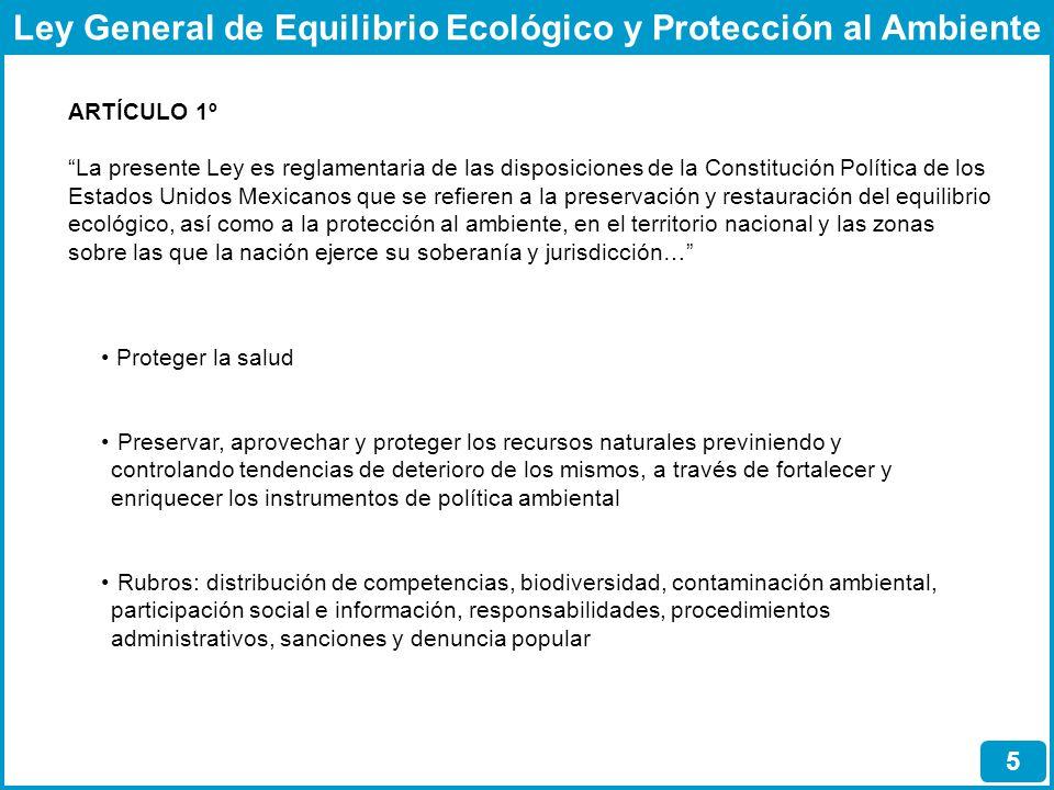Ley General de Equilibrio Ecológico y Protección al Ambiente 5 ARTÍCULO 1º La presente Ley es reglamentaria de las disposiciones de la Constitución Po