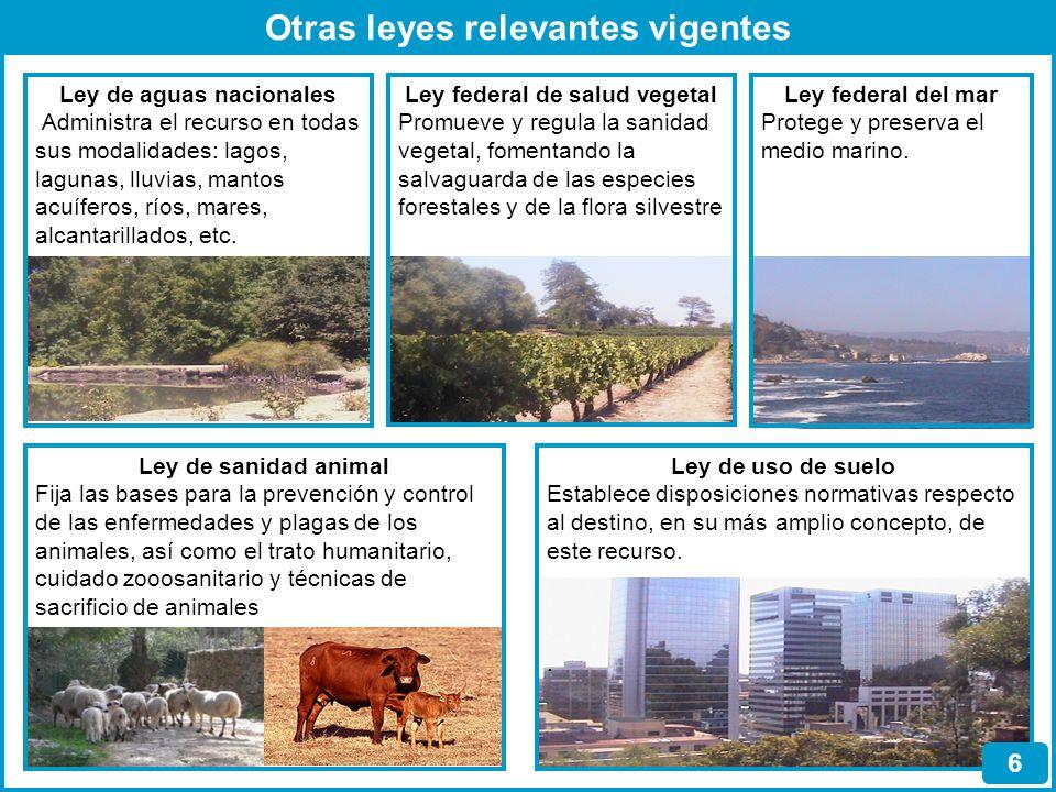 Otras leyes relevantes vigentes Ley de aguas nacionales Administra el recurso en todas sus modalidades: lagos, lagunas, lluvias, mantos acuíferos, río