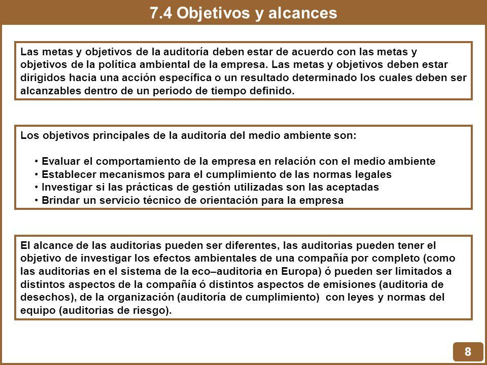 7.4 Objetivos y alcances 8 Las metas y objetivos de la auditoría deben estar de acuerdo con las metas y objetivos de la política ambiental de la empre