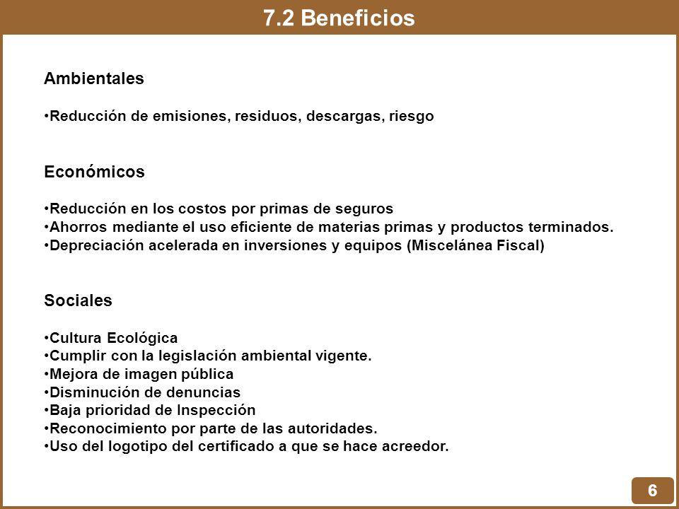 7.2 Beneficios 6 Ambientales Reducción de emisiones, residuos, descargas, riesgo Económicos Reducción en los costos por primas de seguros Ahorros medi