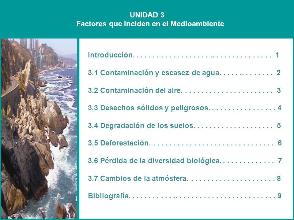 UNIDAD 3 Factores que inciden en el Medioambiente Introducción................................... 1 3.1 Contaminación y escasez de agua..............