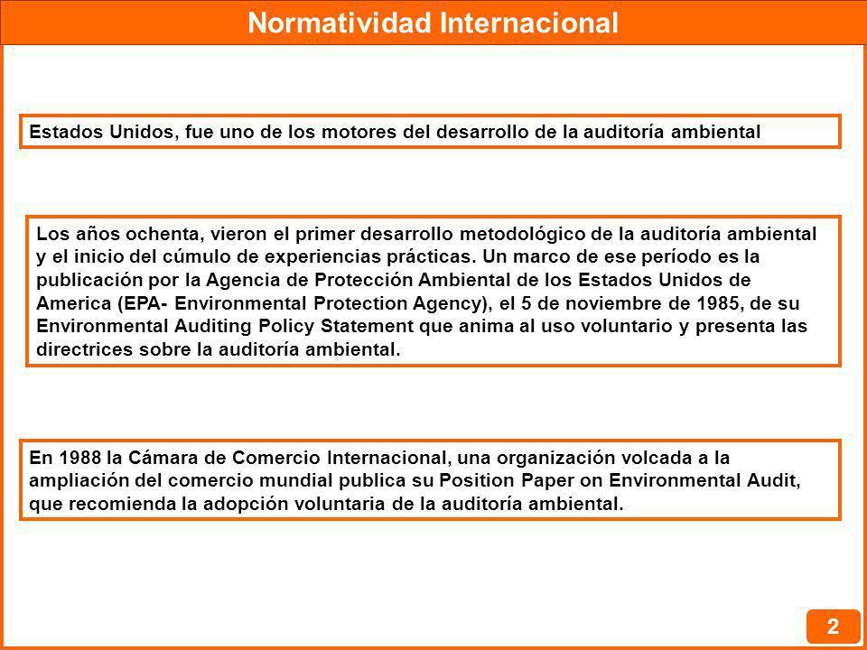Normatividad Internacional 3 En los años noventa se ven algunas iniciativas internacionales con el objetivo de estimular y difundir el uso de la auditoría ambiental, destacándose tres de ellas.