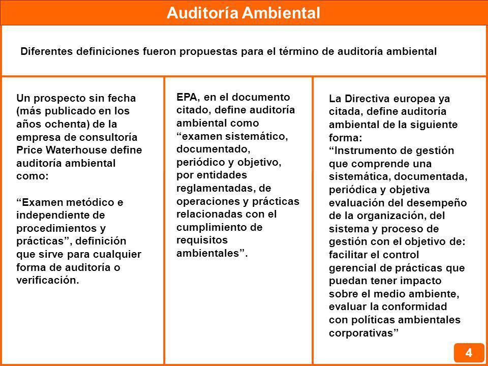 Auditoría Ambiental 4 Diferentes definiciones fueron propuestas para el término de auditoría ambiental Un prospecto sin fecha (más publicado en los añ