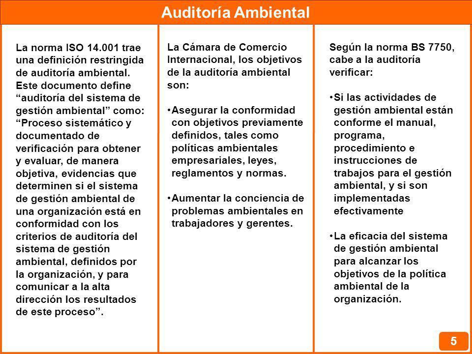Auditoría Ambiental 6 Normalmente, las auditorías ambientales se organizan en tres pasos, que comprenden: Actividades pre-auditoría La auditoría propiamente dicha Actividades pos-auditoría Las actividades previas son la planificación de la auditoría y engloban las primeras cuatro etapas 1) Definición de los objetivos 2) Selección del equipo de auditores y distribución de las tareas 3) Selección del protocolo de la auditoría 4) Comunicación con el responsable de la instalación a ser auditada 5) Apertura y reconocimiento 6) Recolección de evidencias 7) Registro de las evidencias 8) Evaluación de las evidencias 9) Reunión de cierre 10) Elaboración del informe