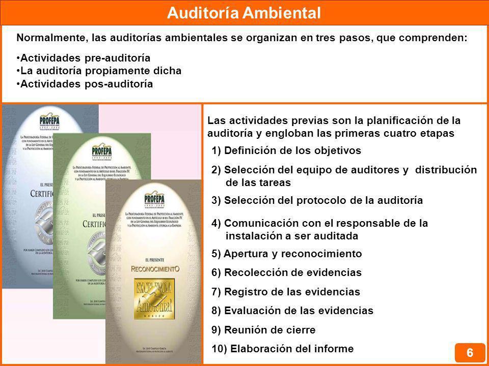 Auditoría Ambiental 6 Normalmente, las auditorías ambientales se organizan en tres pasos, que comprenden: Actividades pre-auditoría La auditoría propi