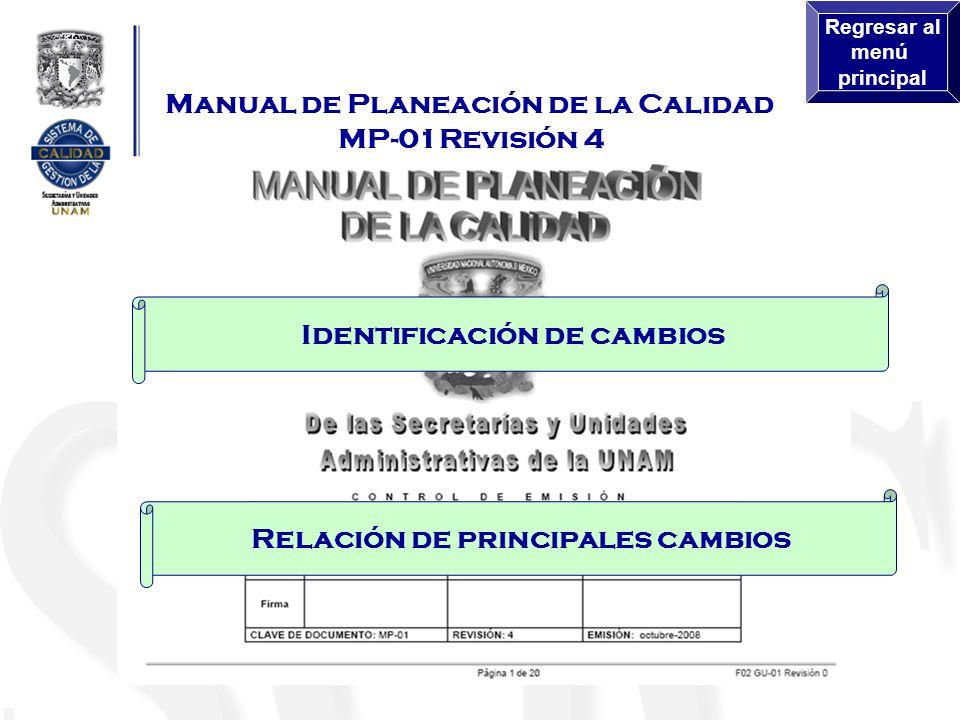 Identificación de cambios Relación de principales cambios Manual de Planeación de la Calidad MP-01Revisión 4 Regresar al menú principal