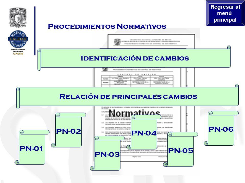 Identificación de cambios Relación de principales cambios Procedimientos Normativos PN-01 PN-02 PN-03 PN-04 PN-05 PN-06 Regresar al menú principal