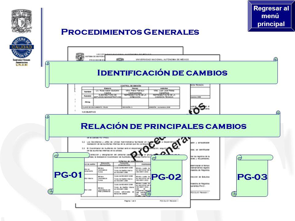 Procedimientos Generales PG-03PG-02 PG-01 Relación de principales cambios Identificación de cambios Regresar al menú principal