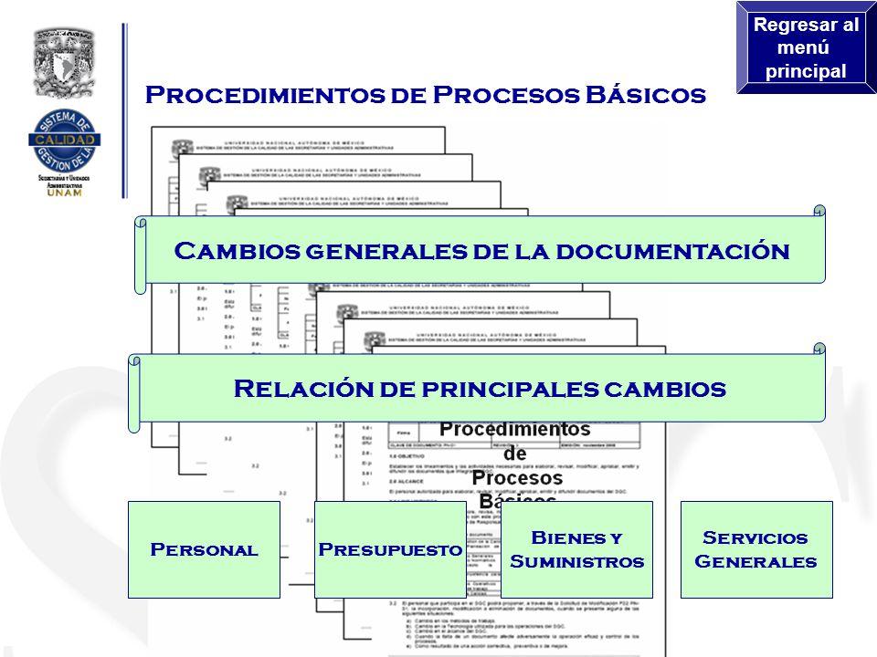 Procedimientos de Procesos Básicos Cambios generales de la documentación Relación de principales cambios PersonalPresupuesto Bienes y Suministros Servicios Generales Regresar al menú principal