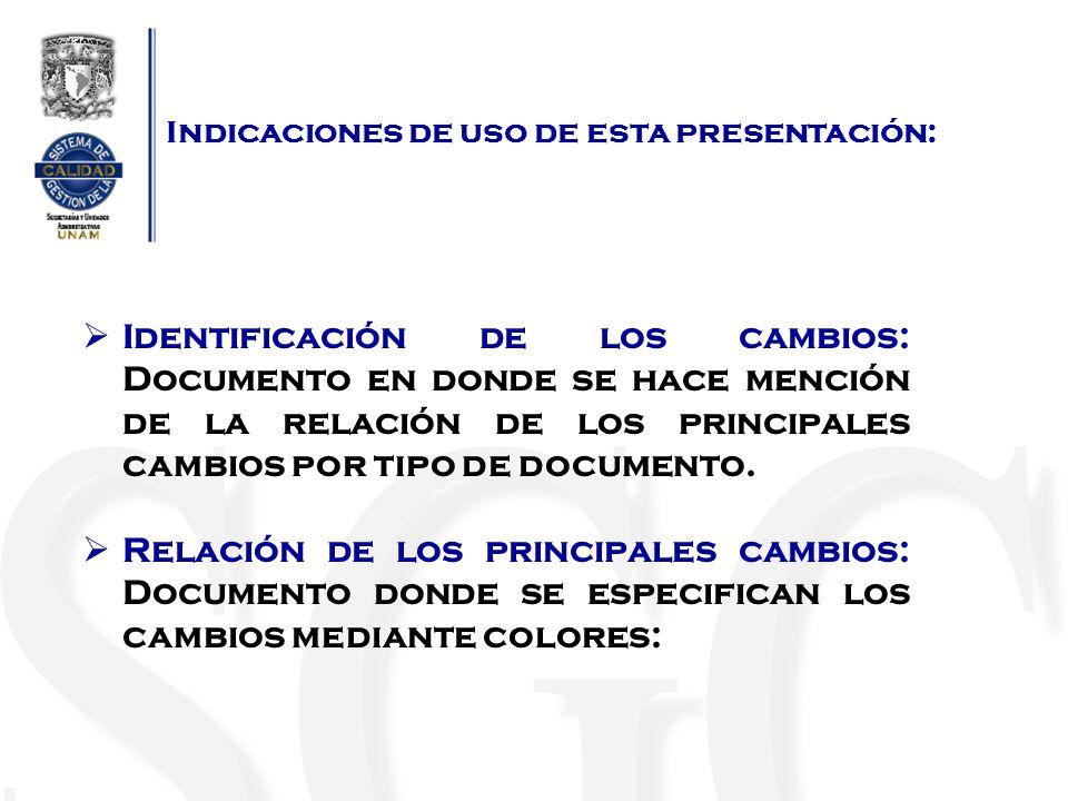 Indicaciones de uso de esta presentación: Azul: cambios de redacción.
