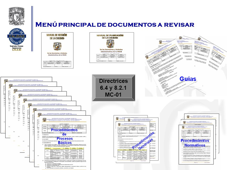 Menú principal de documentos a revisar Directrices 6.4 y 8.2.1 MC-01