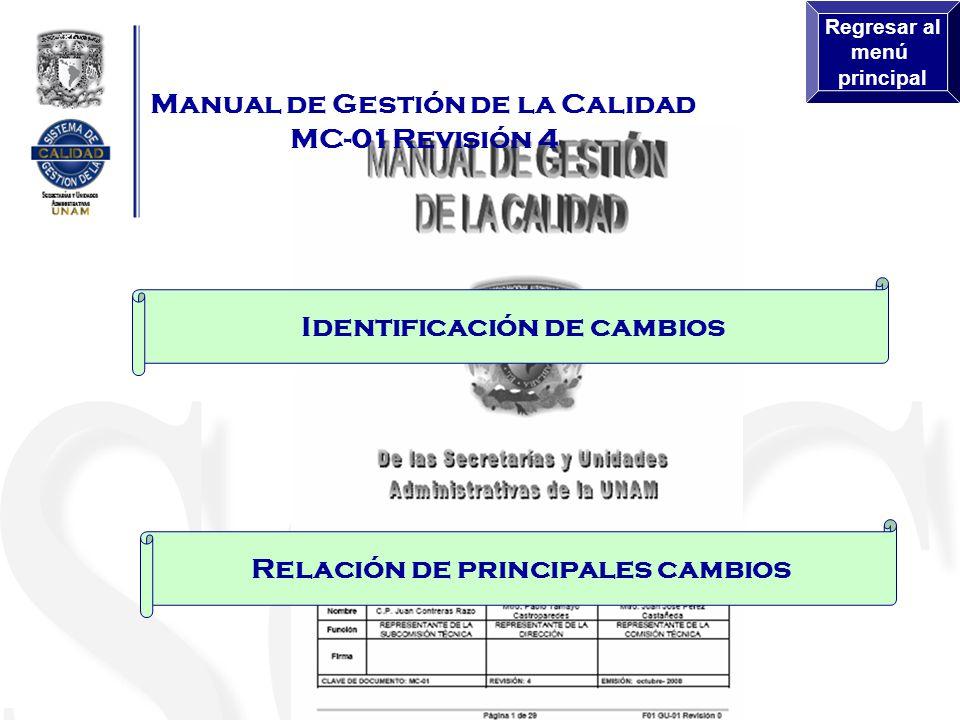 Directrices para atender los requisitos 6.4 y 8.2.1 del MC-01 Rev. 04 Regresar al menú principal