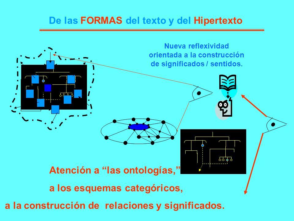 De las FORMAS del texto y del Hipertexto Nueva reflexividad orientada a la construcción de significados / sentidos. Atención a las ontologías, a los e