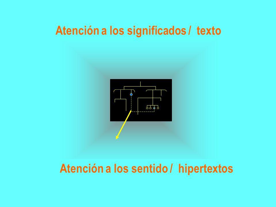 Atención a los significados / texto Atención a los sentido / hipertextos