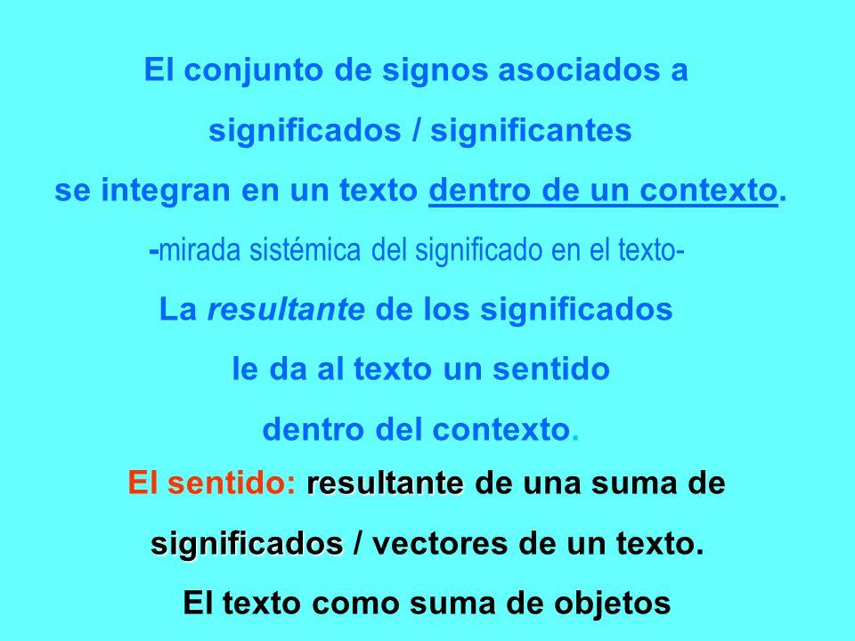 El conjunto de signos asociados a significados / significantes se integran en un texto dentro de un contexto. - mirada sistémica del significado en el