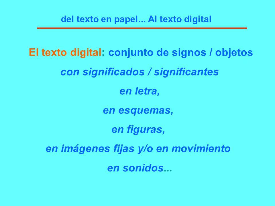 El texto digital: conjunto de signos / objetos con significados / significantes en letra, en esquemas, en figuras, en imágenes fijas y/o en movimiento
