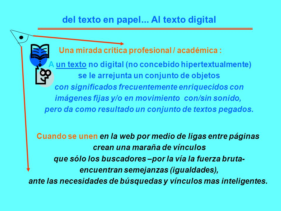 del texto en papel... Al texto digital A un texto no digital (no concebido hipertextualmente) se le arrejunta un conjunto de objetos con significados