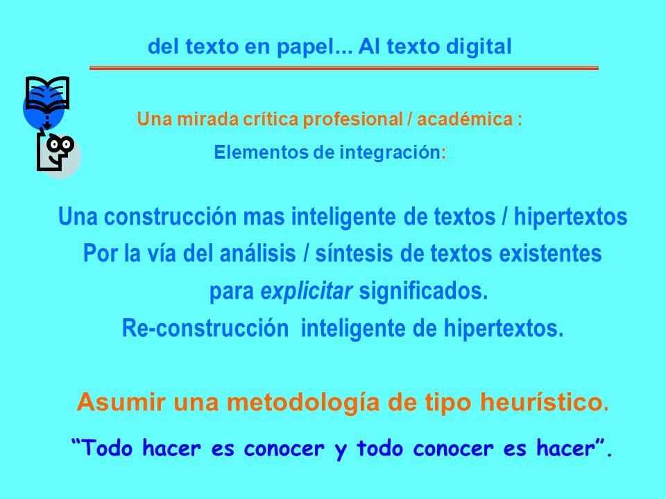 del texto en papel... Al texto digital Una construcción mas inteligente de textos / hipertextos Por la vía del análisis / síntesis de textos existente