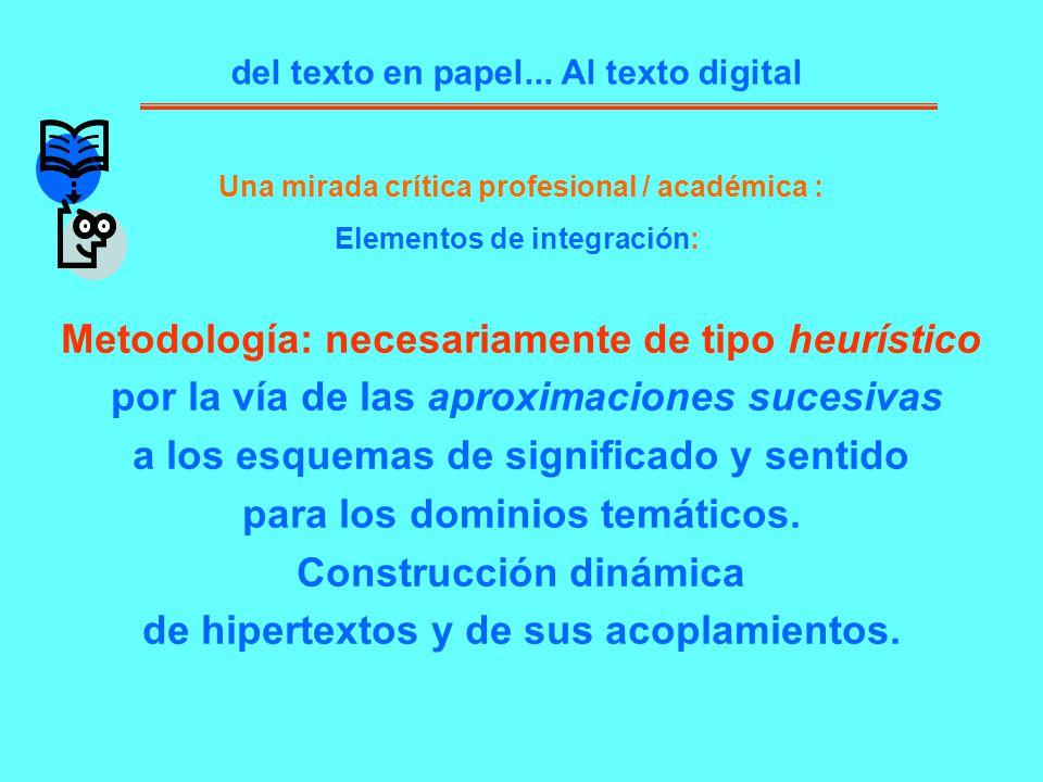 del texto en papel... Al texto digital Una mirada crítica profesional / académica : Elementos de integración: Metodología: necesariamente de tipo heur