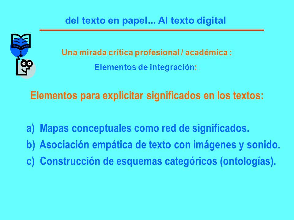 del texto en papel... Al texto digital Elementos para explicitar significados en los textos: a) Mapas conceptuales como red de significados. b) Asocia