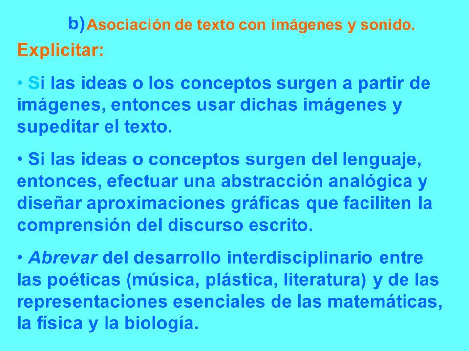 Asociación de texto con imágenes y sonido. Explicitar: Si las ideas o los conceptos surgen a partir de imágenes, entonces usar dichas imágenes y suped